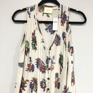 Anthropologie Maeve Pleated Floral Button up Tank